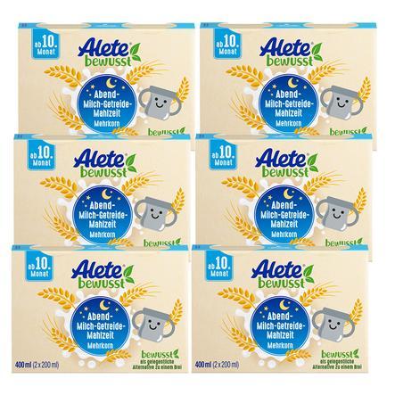 Alete  Abend-Milch-Getreide-Mahlzeit Mehrkorn-Getreide 6 x 400 ml (12 x 200 ml) ab dem 10. Monat