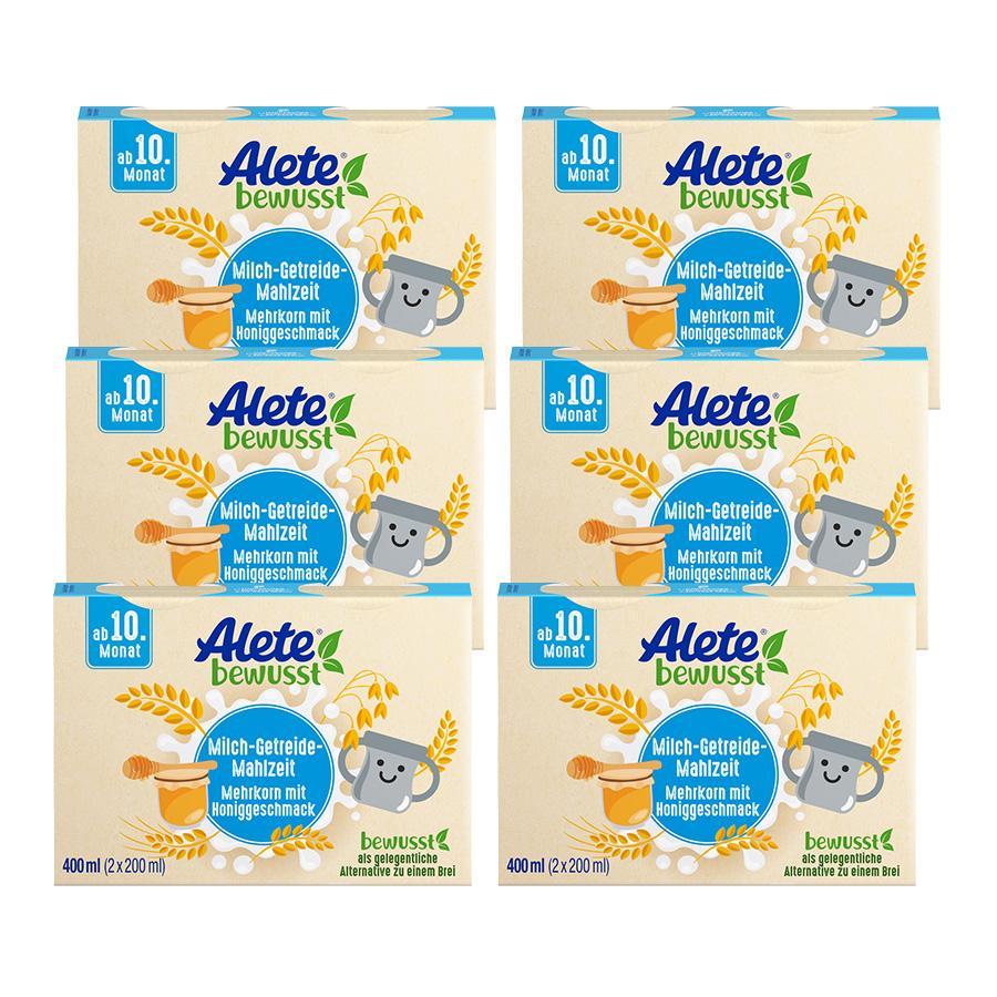 Alete Milch-Getreide-Mahlzeit 6-Korn + Honig 6 x 400 ml ( 12 x 200 ml) ab dem 10. Monat