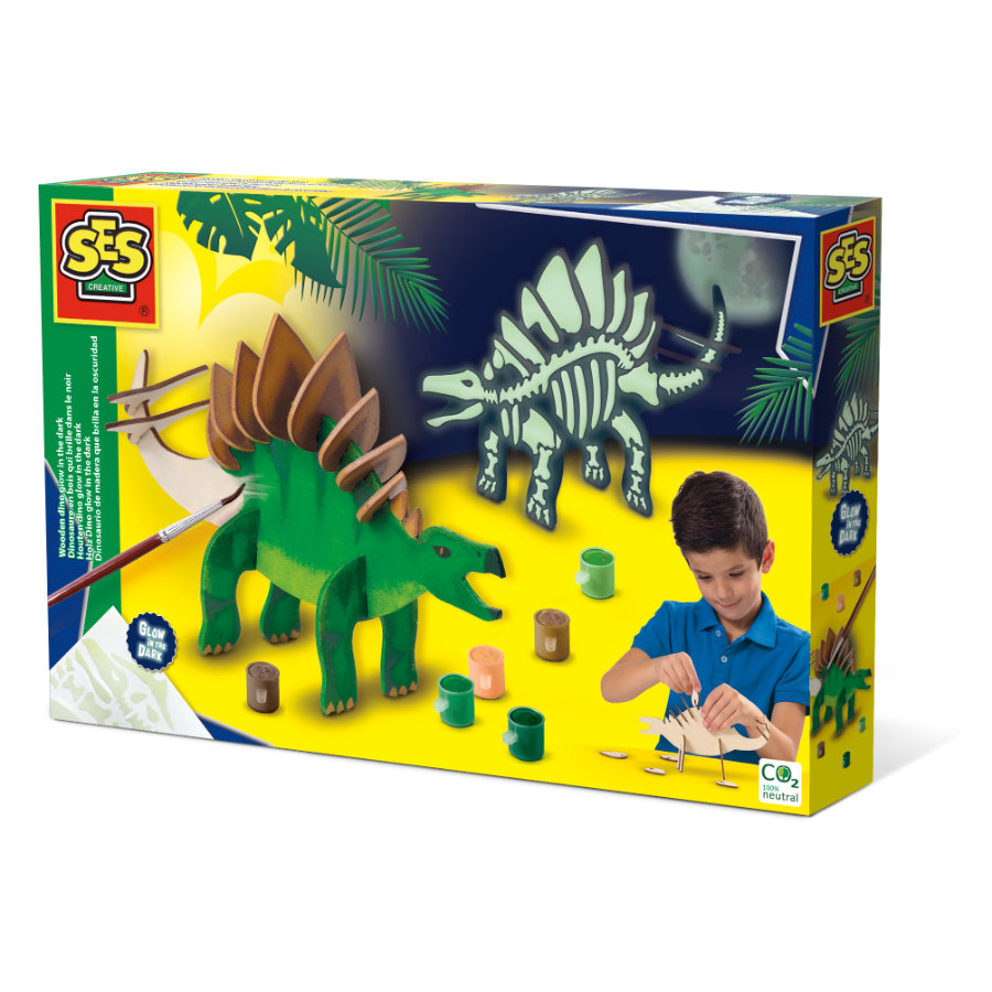 SES Creative® Holz Dino glow in the dark