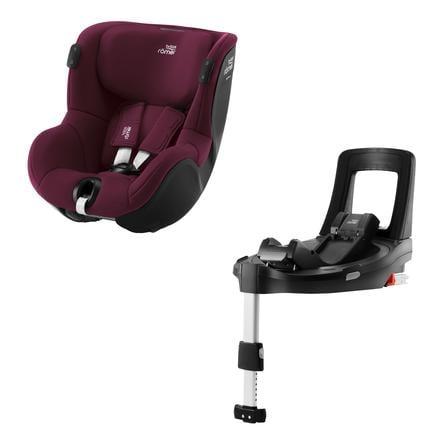 Britax Römer Kindersitz Dualfix iSENSE Burgundy Red inklusive Flex Base iSENSE