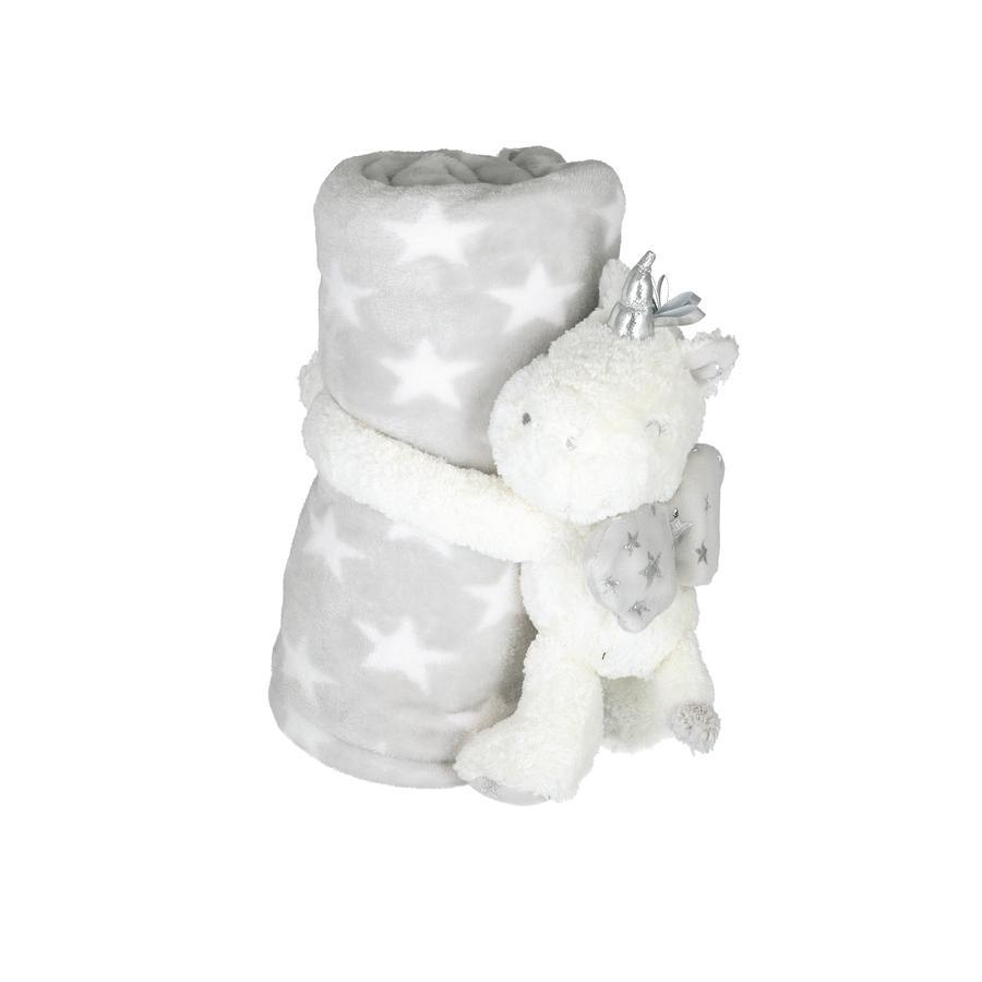 bieco Plaid enfant et peluche licorne blanc/gris 100x75 cm
