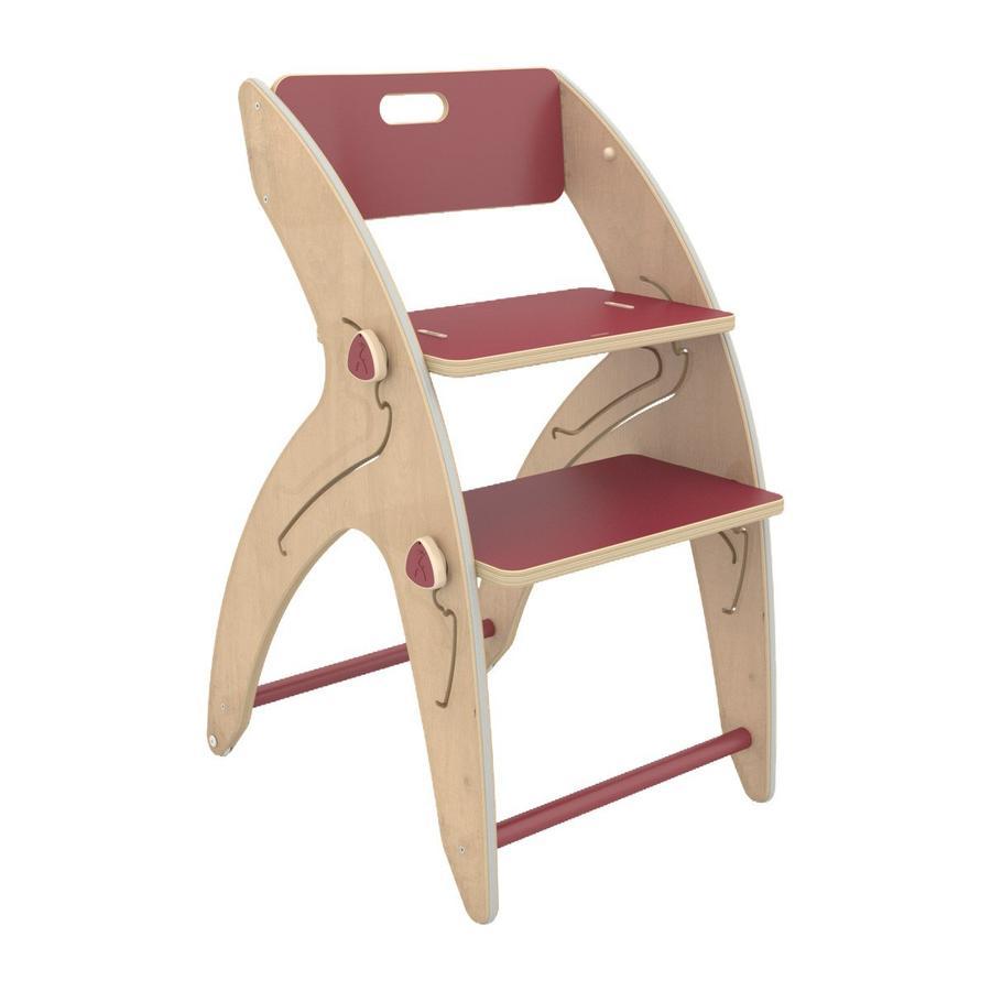 QuarttoLino® Chaise haute enfant évolutive Maxi girafe, coussin d'assise coton bois rouge