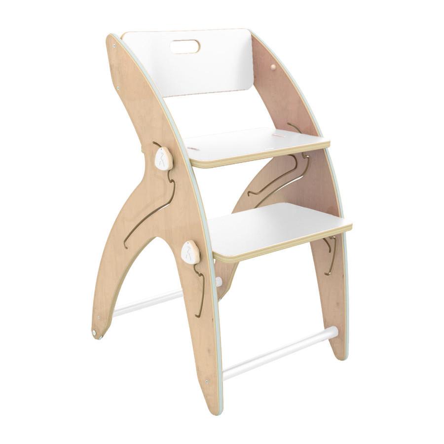 QuarttoLino® Chaise haute enfant évolutive Maxi girafe, coussin d'assise coton bois blanc