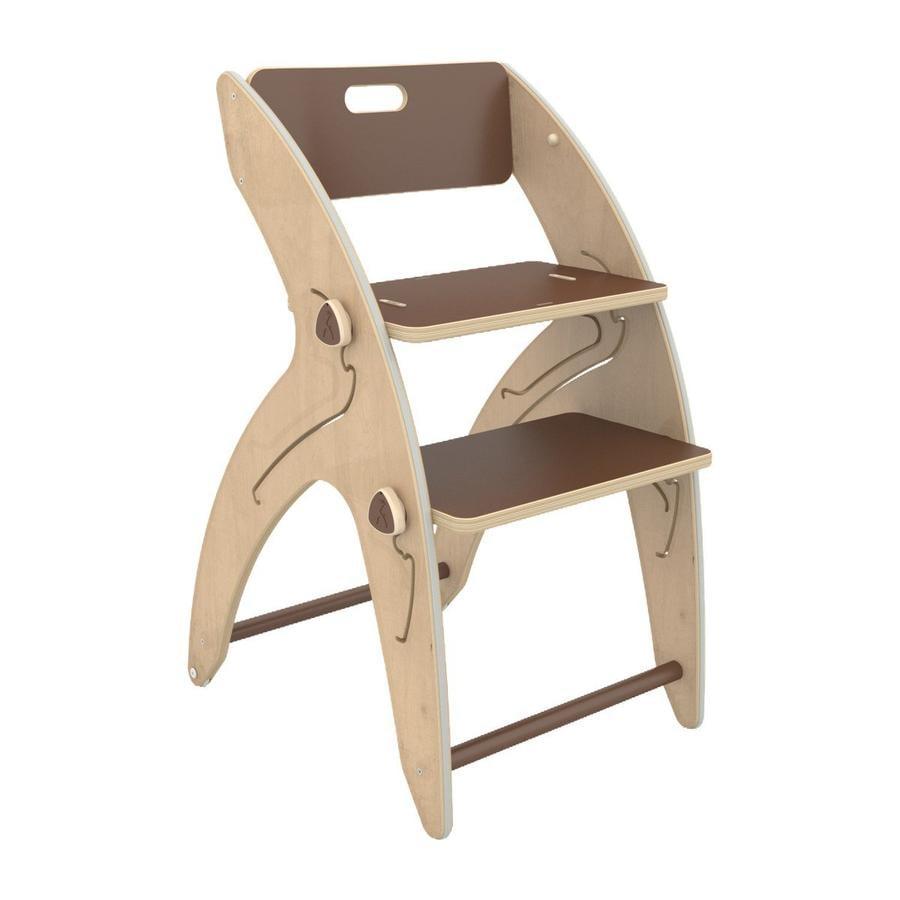 QuarttoLino® Chaise haute enfant évolutive Maxi girafe, coussin d'assise coton bois brun