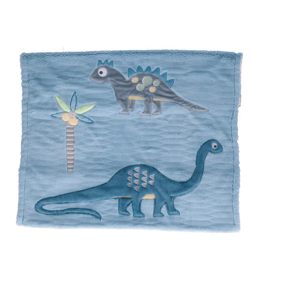 bieco Plaid enfant doublure dinosaure bleu 100x75 cm