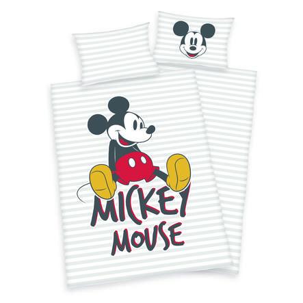 HERDING Bettwäsche Disney's Mickey Mouse hellgrau 100 x 135 cm