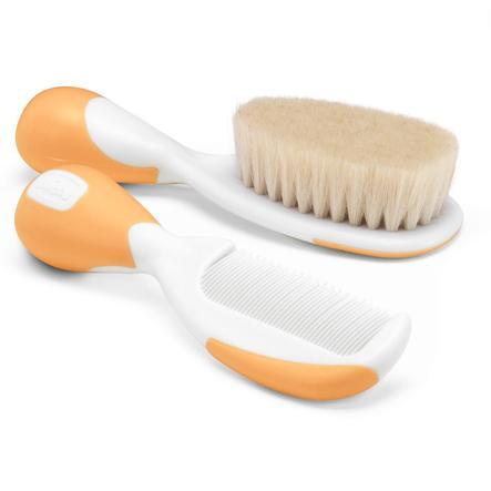 chicco Peigne et brosse à poils naturels en poils de chèvre en orange