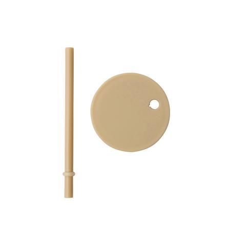 Design Letters Couvercle et paille pour verre enfant, beige