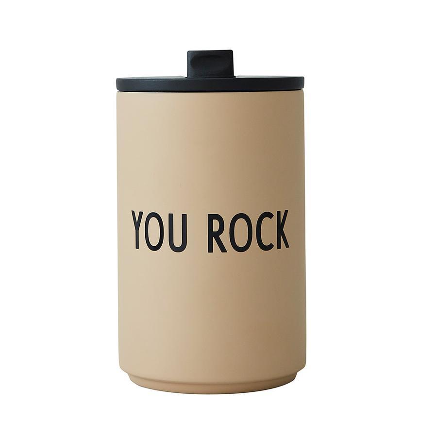 Design Letters Termo/izolační hrnek s sebou, nerezová ocel, béžová, YOU ROCK, 350 ml