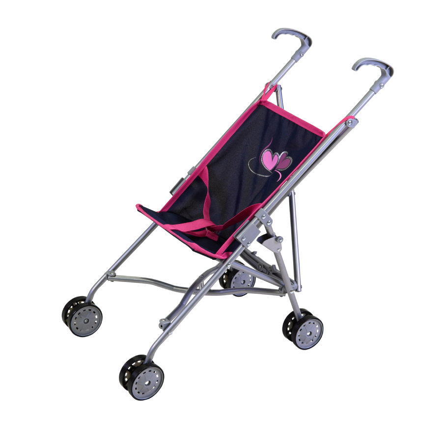 knorr® toys Puppenbuggy Sim flying hearts blue/pink