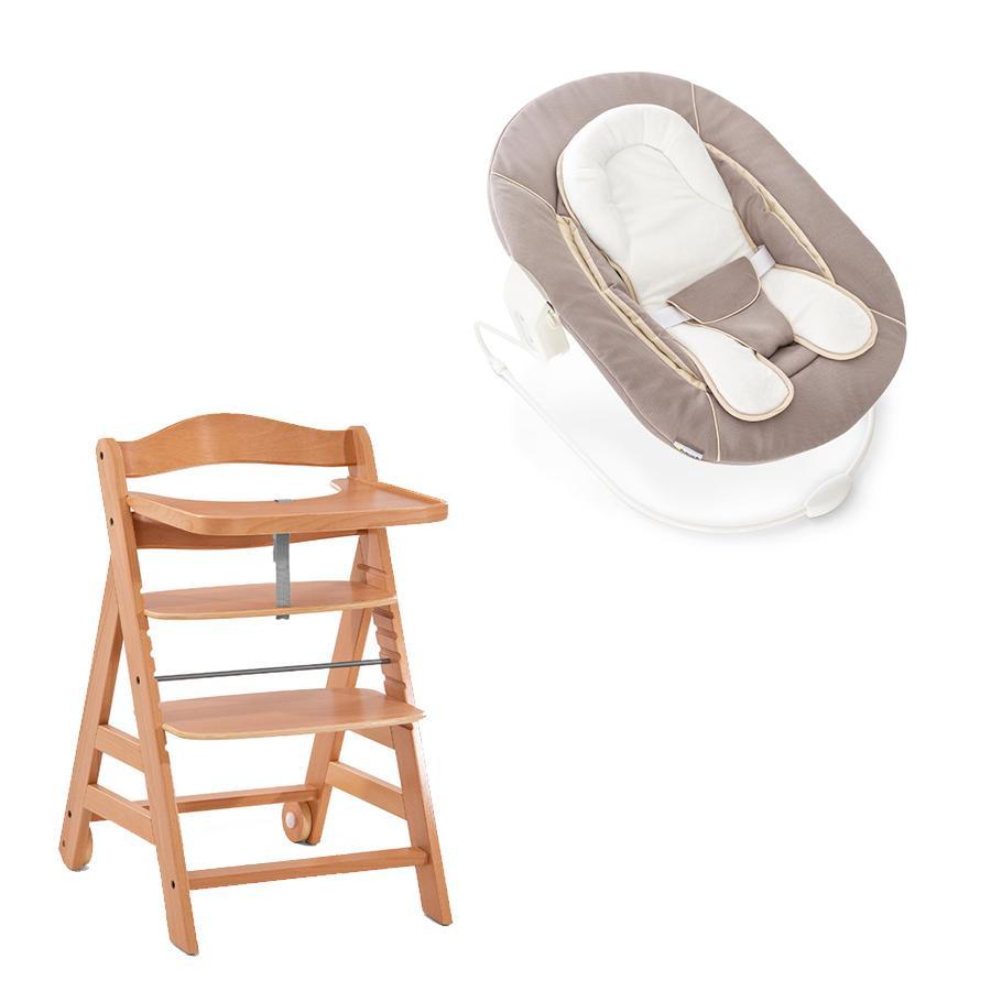 hauck Chaise haute enfant évolutive Alpha Move bois, transat Stretch beige
