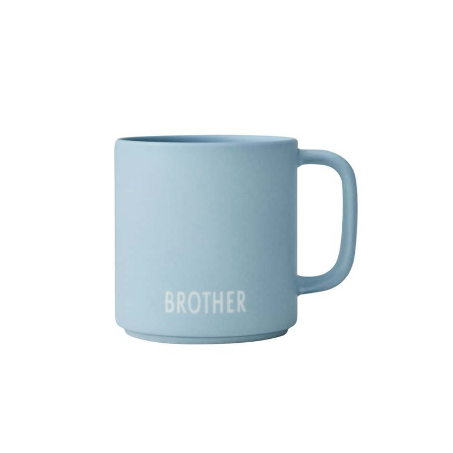 Design Letters Sibling Cup, porseleinen mok met handvat, BROTHER, lichtblauw, 175 ml