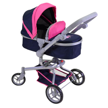knorr® speelgoed poppenwagen Boonk flying heart s navy/roze