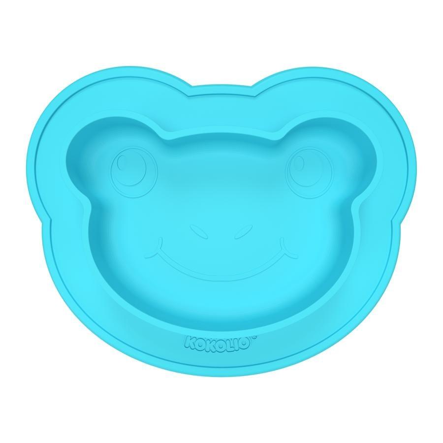 KOKOLIO Assiette enfant Frogi silicone bleu