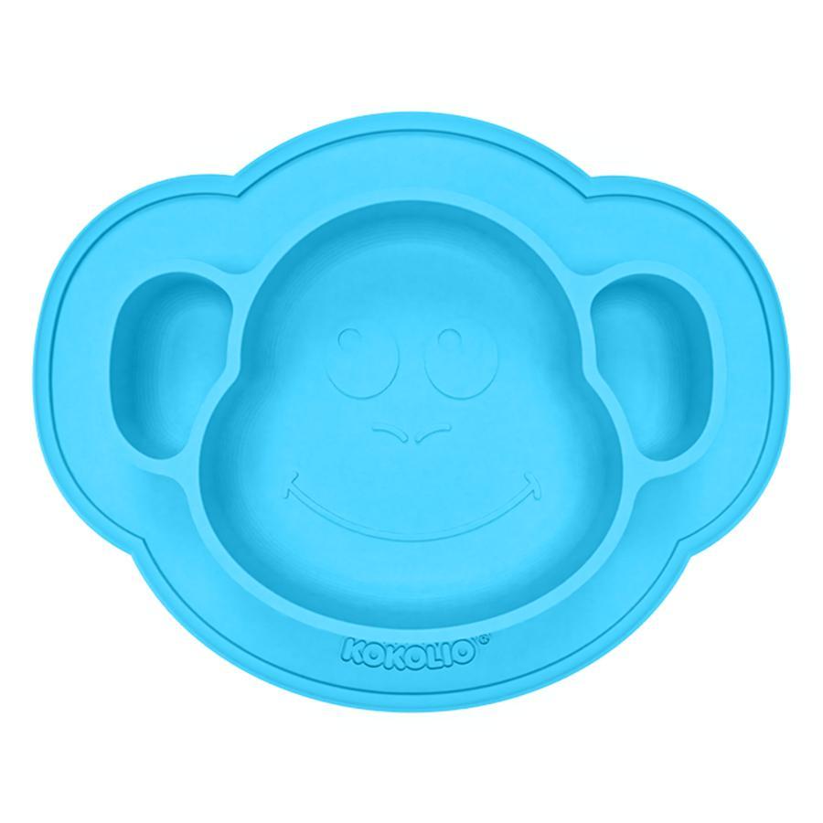 KOKOLIO Esslernteller Monki aus Silikon, ab 6 Monaten in blau
