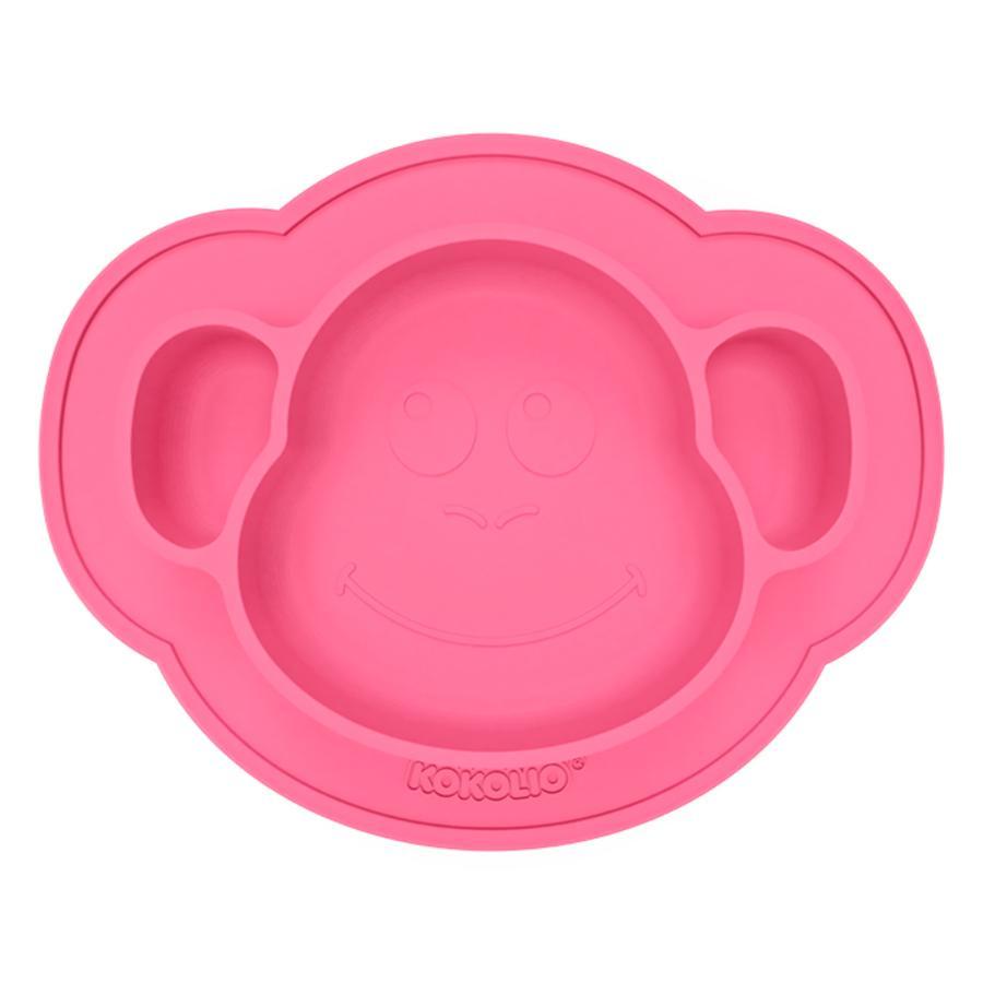 KOKOLIO Silikonový jídelní talíř Monki, od 6 měsíců v růžové barvě