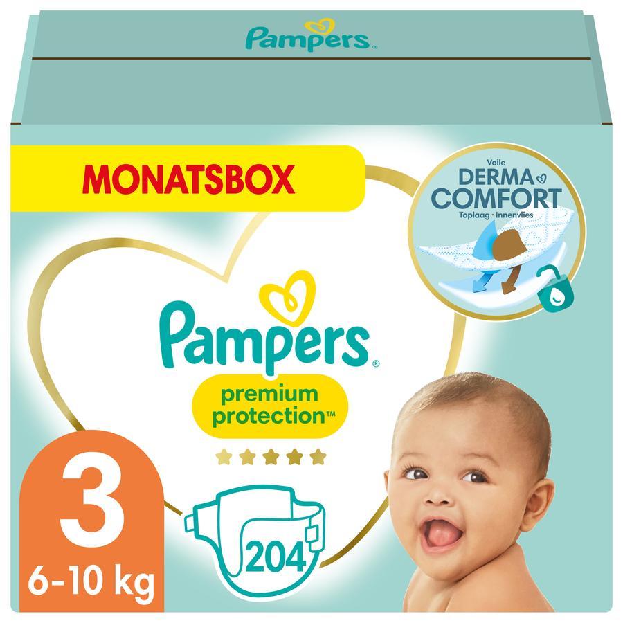 Pampers Premium Protection Windeln, Gr. 3, 6-10kg, Monatsbox (1 x 204 Windeln)