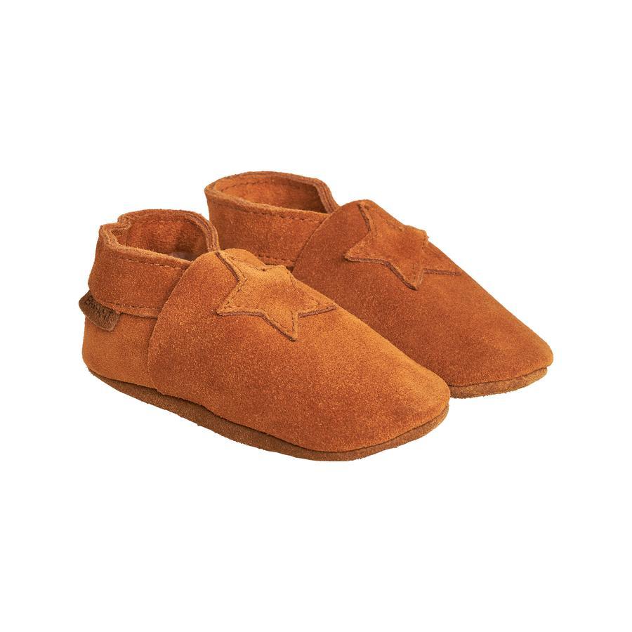 FIXONI Elastisk tøffel i ruskind Leather Brown