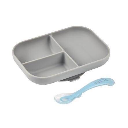 BEABA  Sada nádobí rozdělená silikonový talíř + lžíce