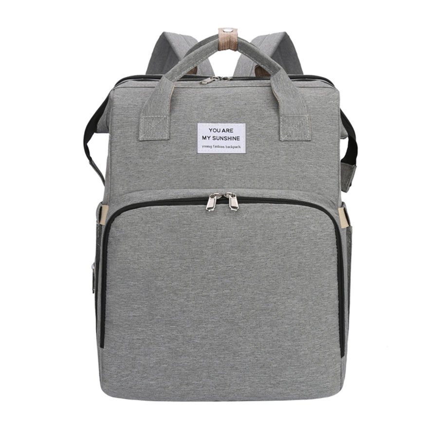 Stella Bag Sac à langer dos transformable lit Basic gris logo Sunshine