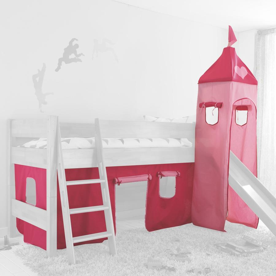 Relita Stoffset für Hochbetten mit Turm pink / Herz