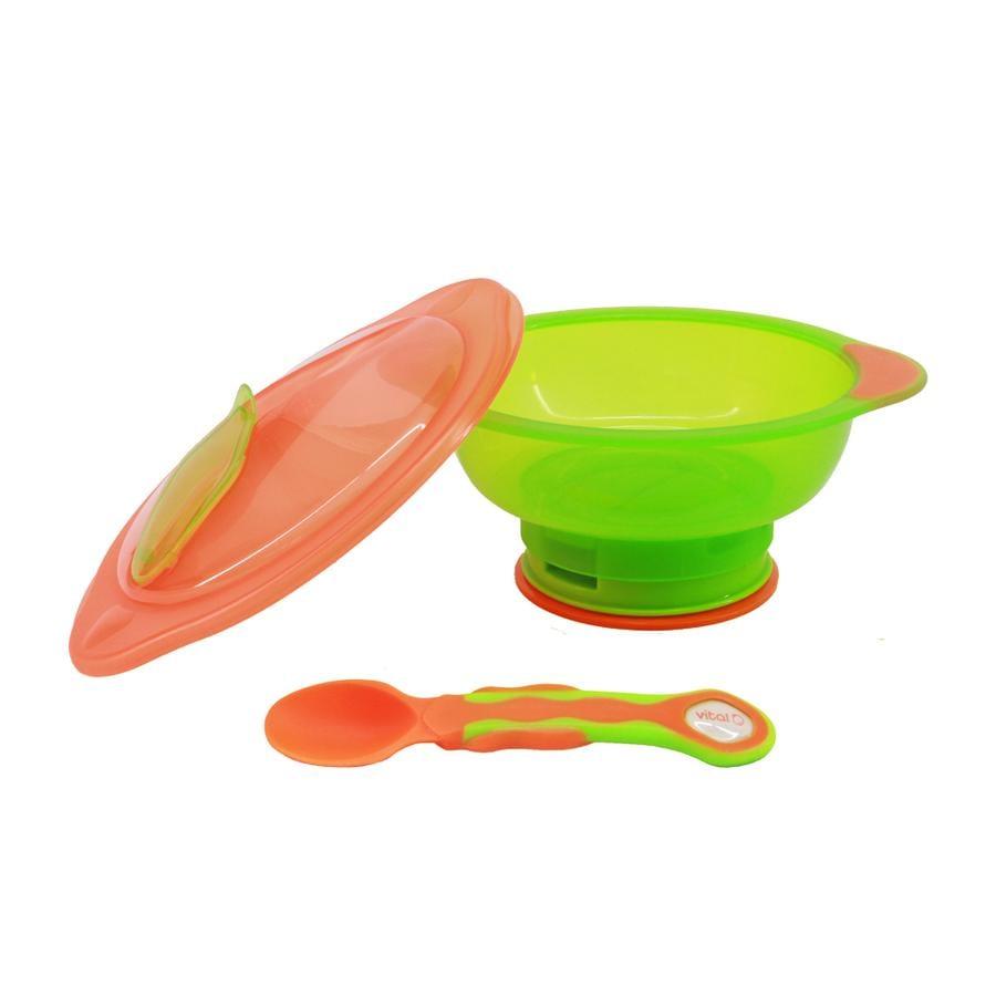 vital baby Schüssel mit Deckel, Unbelievabowl ab dem 9. Monat in orange-grün