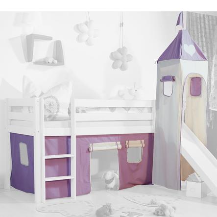 Relita Stoffset für Hochbetten mit Turm purple / weiß-Herz