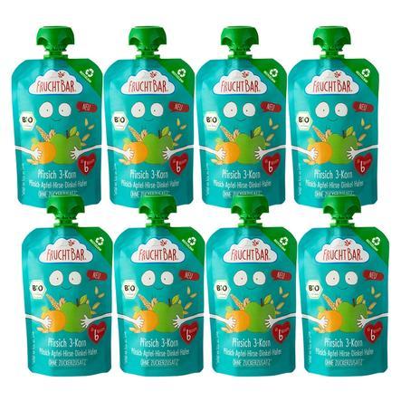 FRUCHTBAR® Bio-Pürees Pfirsich 3-Korn - Pfirsich-Apfel-Hirse-Dinkel-Hafer 8 x 100 g ab dem 6. Monat