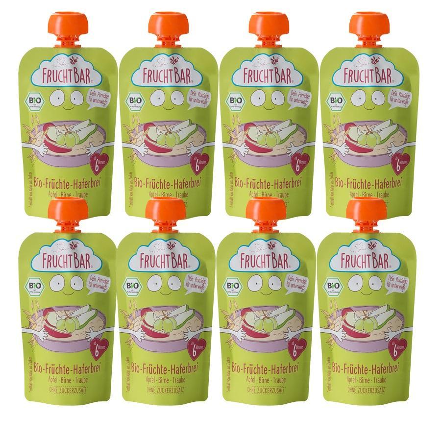 FRUCHTBAR® Bio-Früchte-Haferbrei Apfel-Birne-Traube ab dem 6. Monat 8 x 120 g
