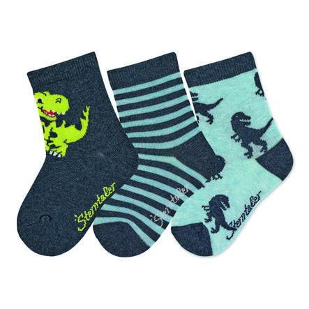 Sterntaler Sokken 3-pack Dino blauw gemêleerd