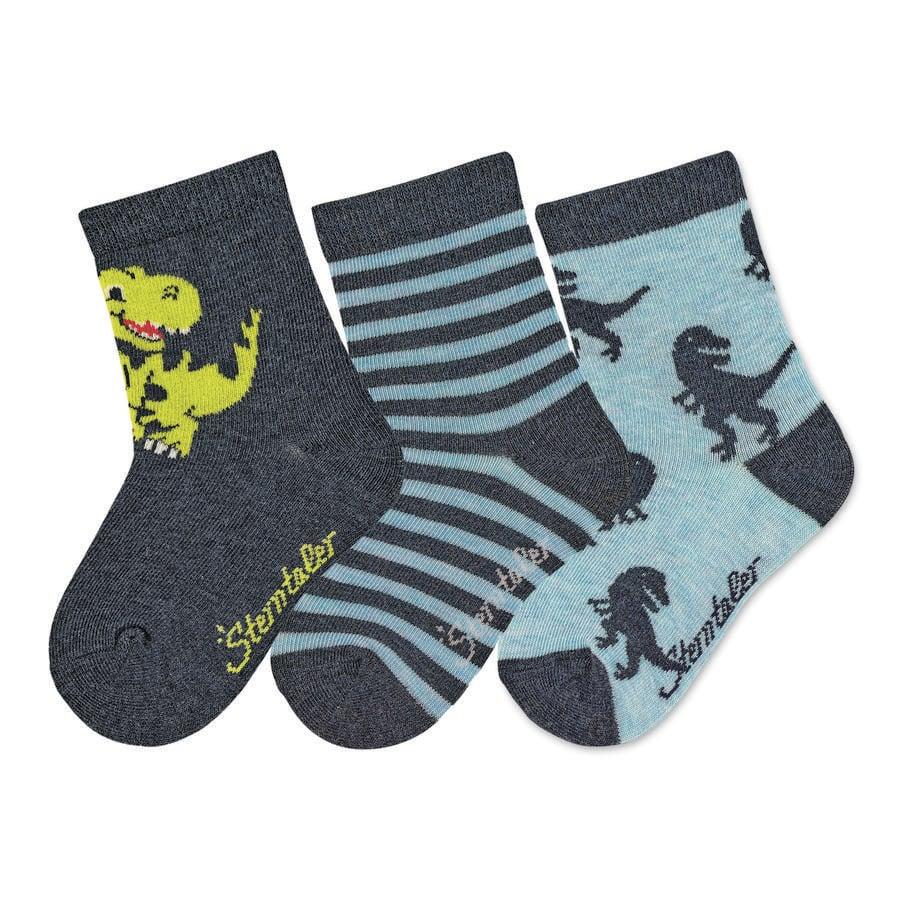 Sterntaler Ponožky 3-pack Dino blue melange