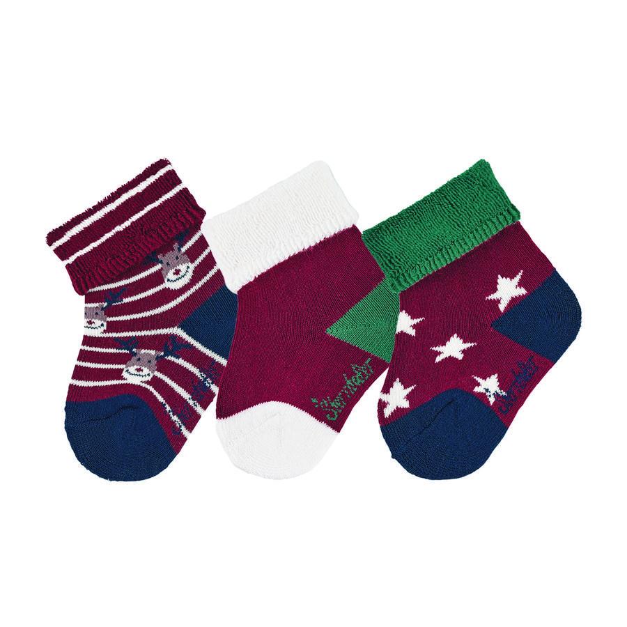 Sterntaler Baby Socks 3-Pack Christmas Dark Red