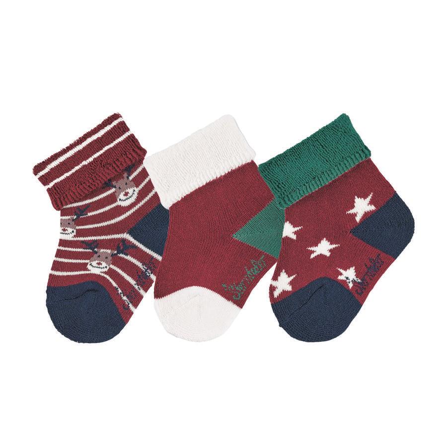 Sterntaler Vauvan sukat 3-pack joulu tummanpunainen