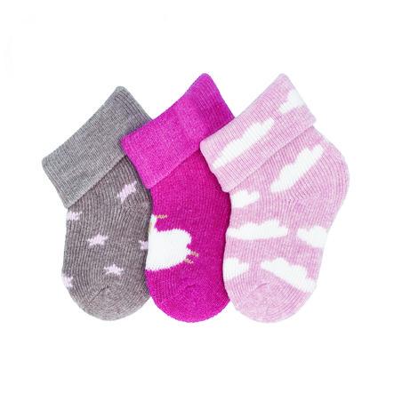 Sterntaler eerste sokken 3-pack schaap magenta