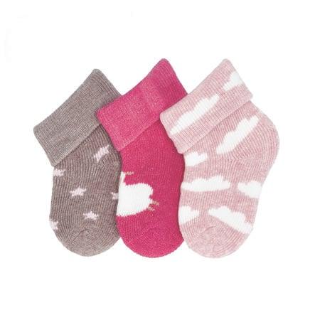 Sterntaler ensimmäiset sukat 3-pack lampaat magenta