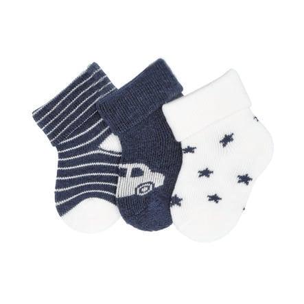 Sterntaler First Baby Socks 3-pack Car blue melange