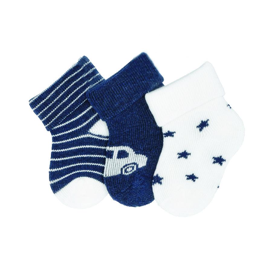 Sterntaler First Baby Socks 3-pack Auto blauw gemêleerd