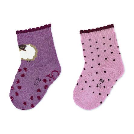 Sterntaler ABS ponožky dvojité balení ovce světle červená melange