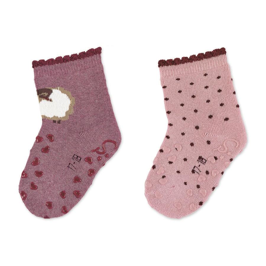 Sterntaler ABS sokken dubbelpak schaap licht rood gemêleerd