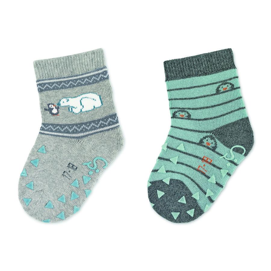 Sterntaler ABS sokker dobbel pakke isbjørn lys grå