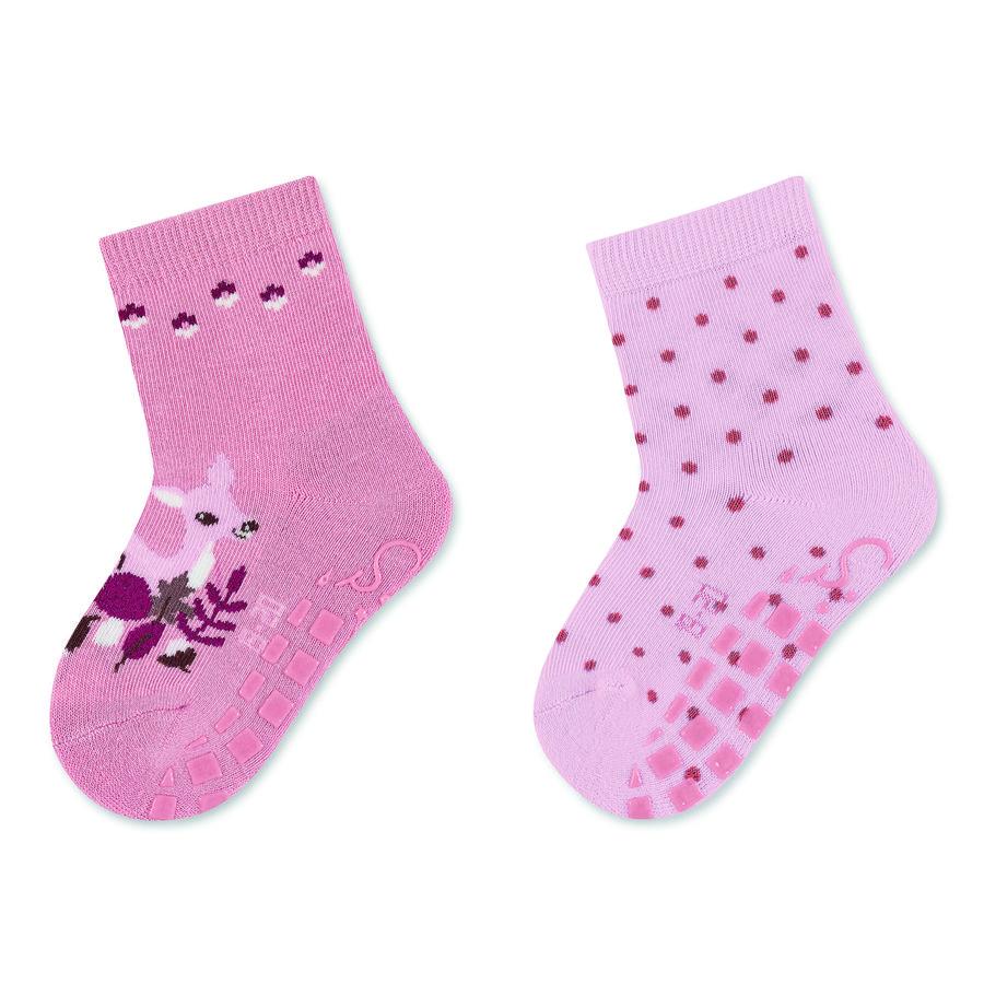 Sterntaler ABS-Söckchen Doppelpack Rehkitz und Tupfen rosa