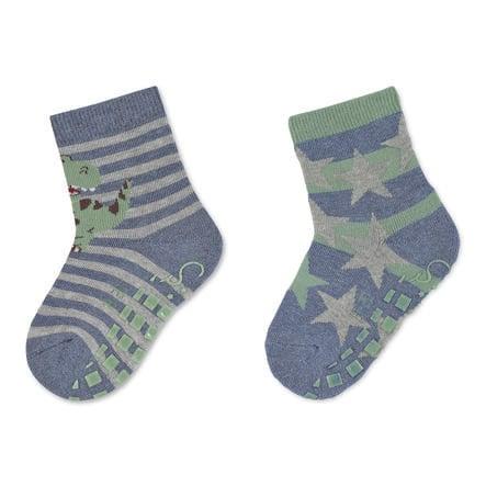 Sterntaler ABS sokker dobbel pakke T-Rex og stjerner blekkblå
