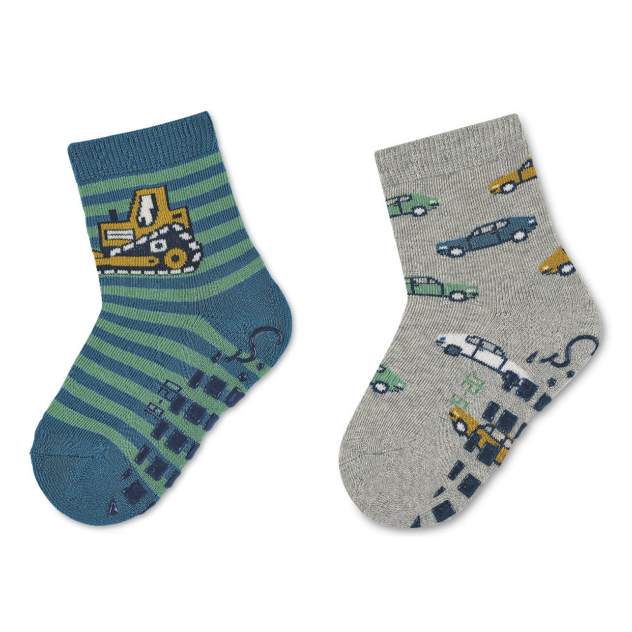 Sterntaler ABS-sokker dobbeltpakning graver og biler mellomblå