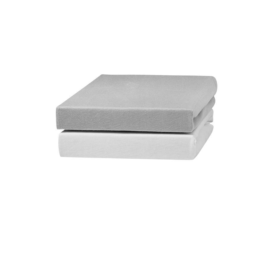 urra Jersey Spannbettlaken 2er-Pack 70 x 140 cm weiß/grau