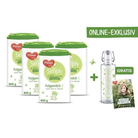 Milupa Folgemilch Simply 2 Online Exklusiv 4 x 800 g nach dem 6. Monat mit gratis Glastrinkflasche soulbottle 0,6 l