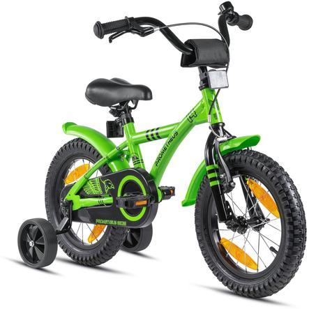 "PROMETHEUS BICYCLES® HAWK Kinderfahrrad 14"" , Grün-Schwarz mit Stützrädern"