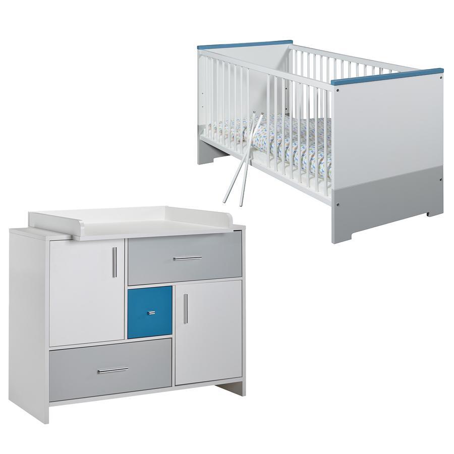SCHARDT Candy Blue Kit chambre enfant avec lit kit de transformation commode  et plateau