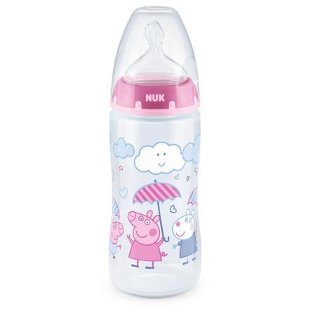 NUK Babyfles First Choice + Peppa Pig met temperatuur Control , 6-18 maanden, 300 ml, in roze