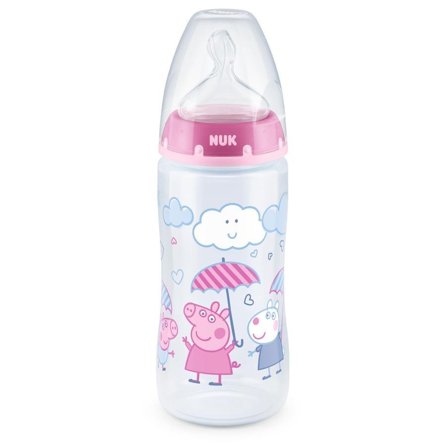 NUK Butelka dla niemowląt First Choice + Świnka Peppa z termometrem Control , 6-18 miesięcy, 300 ml, różowa
