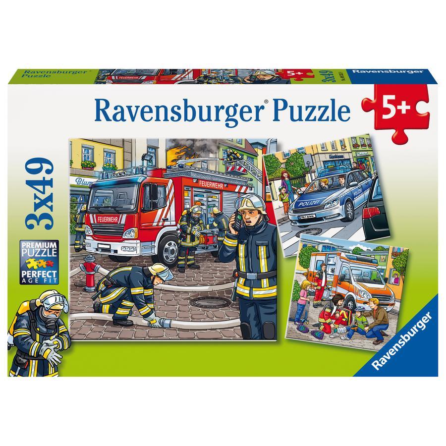 Ravensburger Kinderpuzzle - Helfer in der Not 3x49